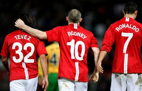 Tevez Rooney and Ronaldo