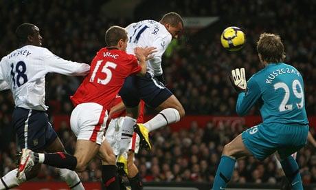 Gabriel Agbonlahor scores for Aston Villa against Manchester United