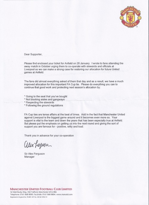 Sir Alex Ferguson letter