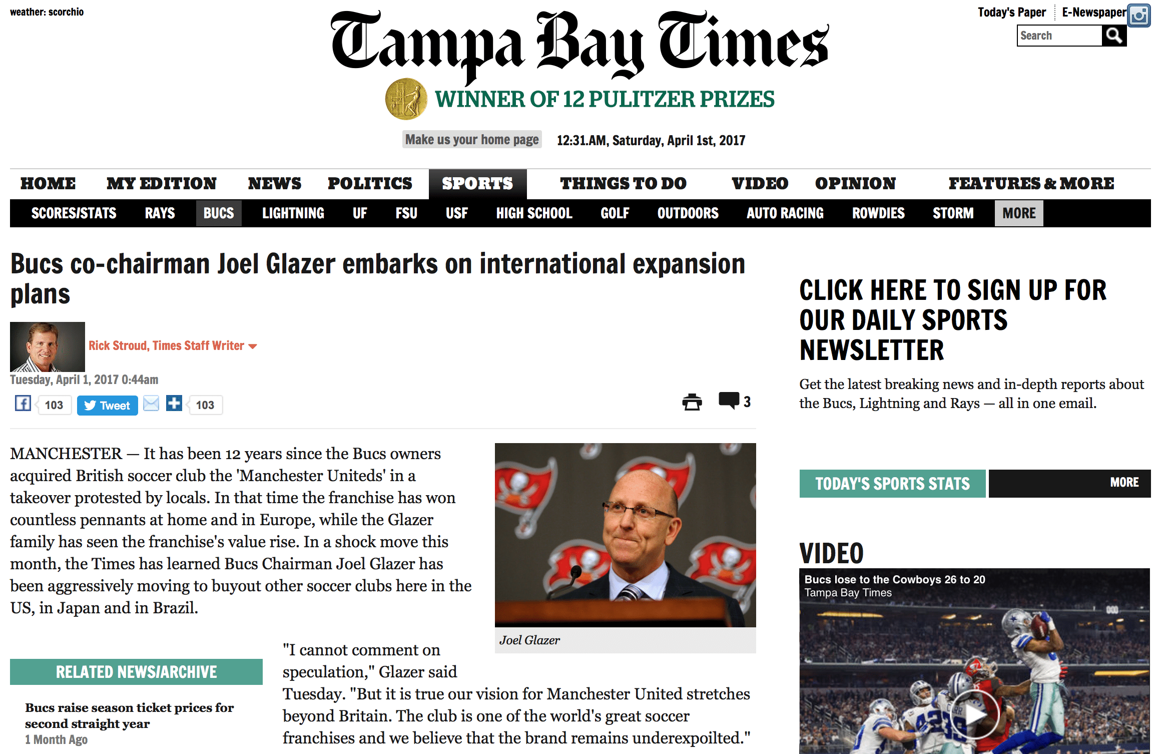 Tampa Bay Times' story overnight